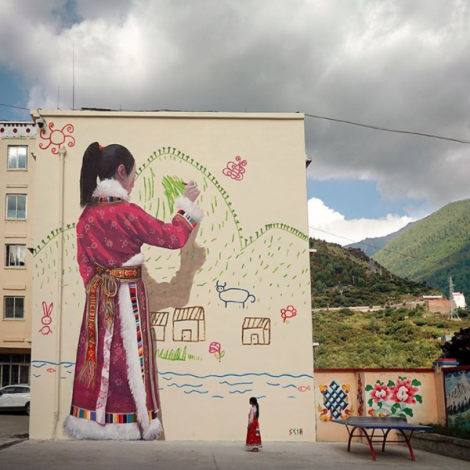 """""""My mountain"""", scuola elementare di Chang Ping a Sichuan, @seth_globepainter"""