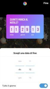Giorno del countdown su Instagram Stories
