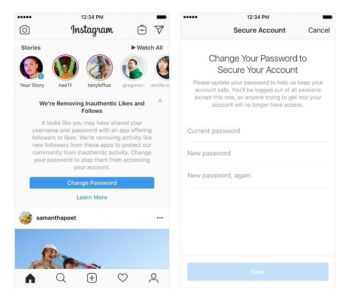 Messaggio in app da Instagram per like finti ed interazioni non autentiche