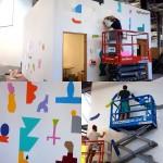 Dettagli del murales della crew Nous Vous durante i lavori