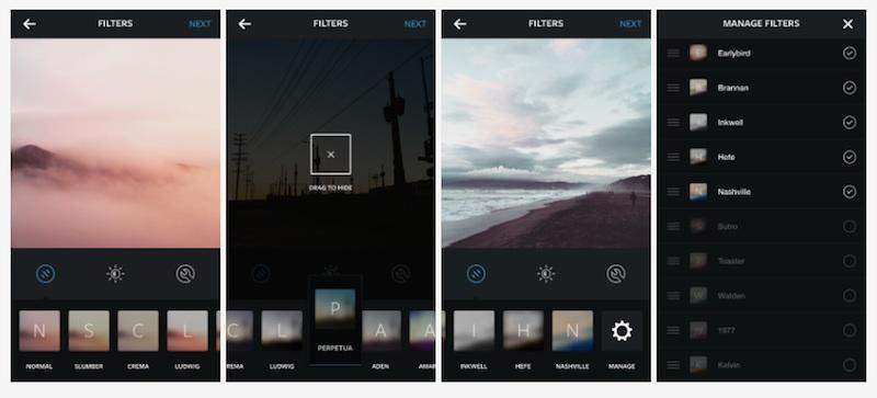Gestione filtri preferiti per Instagram