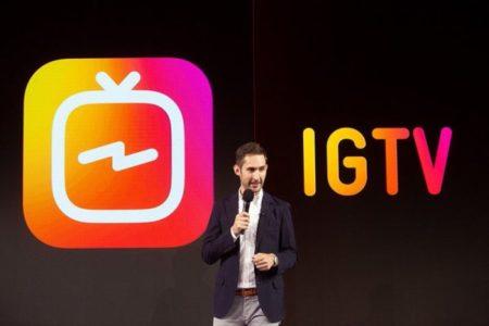 Kevin Systrom durante il lancio di IGTV, la nuova piattaforma per video di Instagram