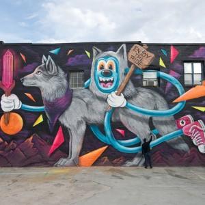 L'opera di Greg Mike ad Atlanta per #WallToWall nella foto di @bennymacyo