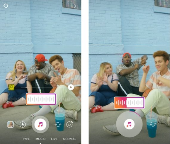 Scegliere il brano prima di registra una stories con fotocamera