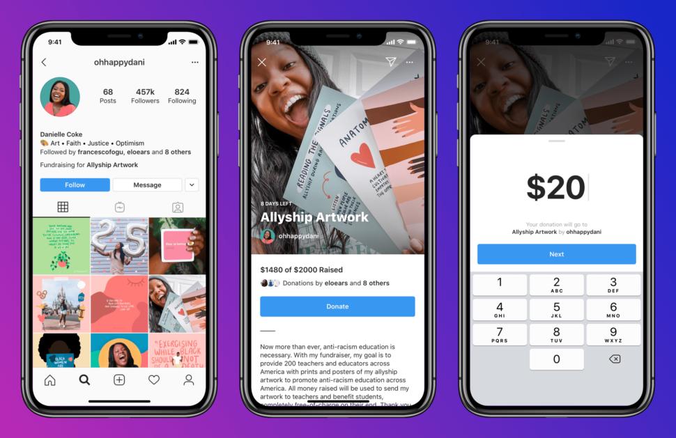 Personal Fundraiser. Instagram testa le raccolte fondi personali.