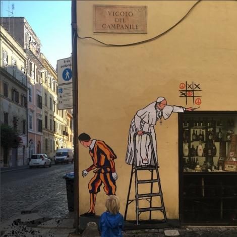 #StreetArt Roma: di nuovo rimosso il Papa Francesco di Maupal