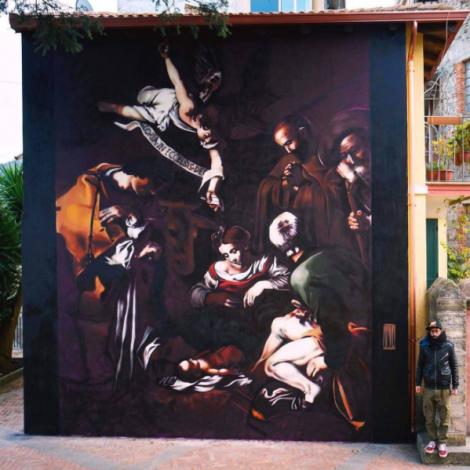 La Natività di Caravaggio perduta rivive con la street art