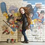 La Venere di Botticelli al lavoro per dipingere una serie di cartoons