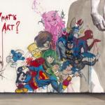 Il David di Michelangelo dipinge un murale pieno di cartoons