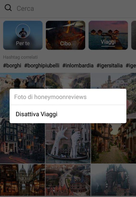 Possibilità di silenziare un canale presente nella sezione Esplora di Instagram