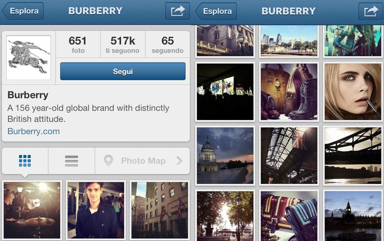 Burberry ha un account Instagram per fare marketing