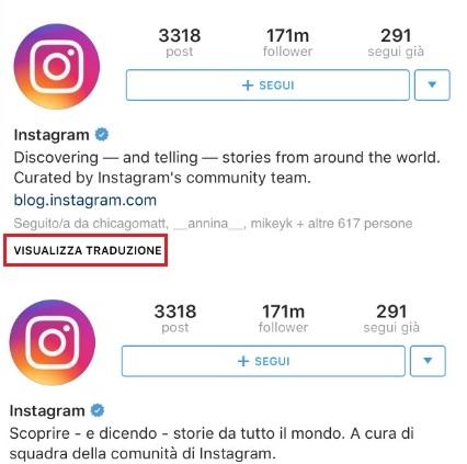 Instagram: ecco le traduzioni automatiche
