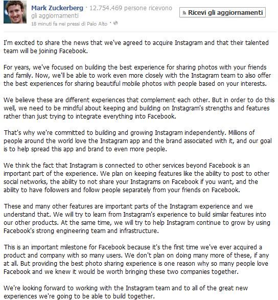 Zuckerberg annuncia l'acquisto di Instagram da parte di Facebook
