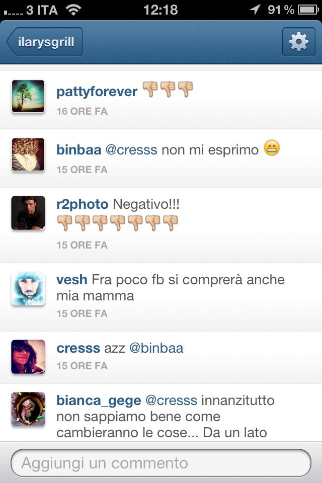Reazioni dalla community… Facebook acquista Instagram