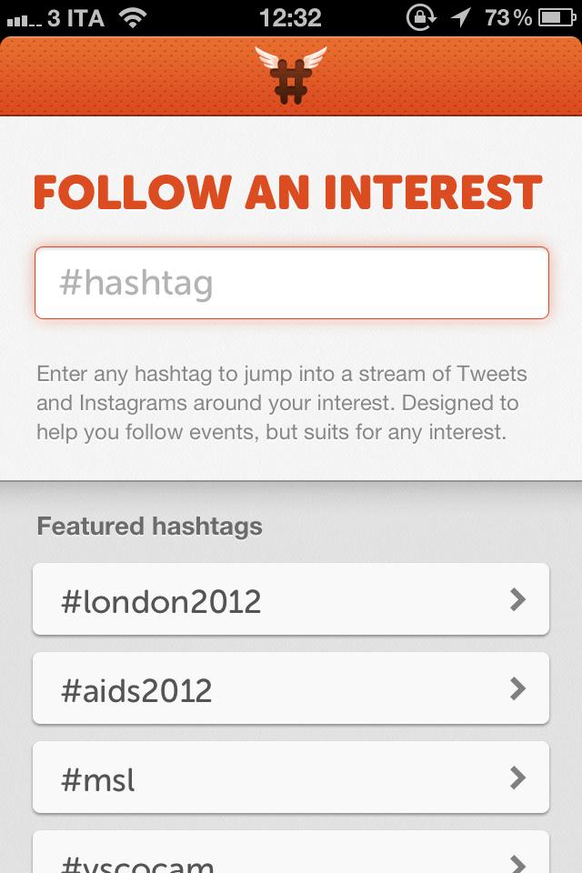 Hashtag App. Mash up tra Instagram e Twitter