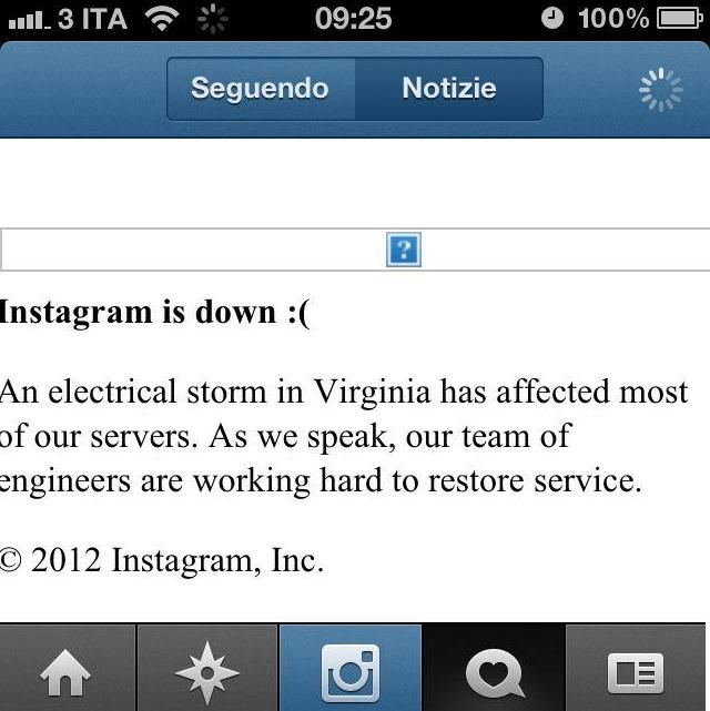 instagram servers colpiti da una tempesta elettrica