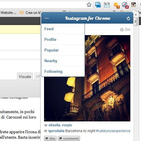 Web App Instagram per browser Google Chrome