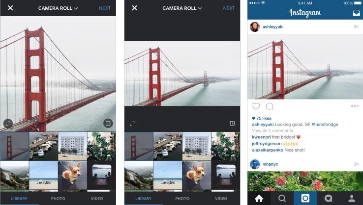 Instagram novità: non più solo formato quadrato ma anche landscape e portrait