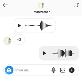 messaggi vocali scambiati in direct su instagram