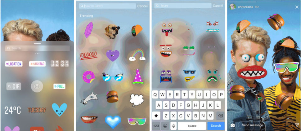 novità instagram GIF stickers