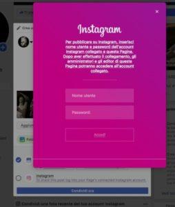 Login Instagram per caricamento foto da Facebook