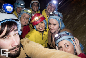 Selfie durante la visita speleo Grotte di Frasassi